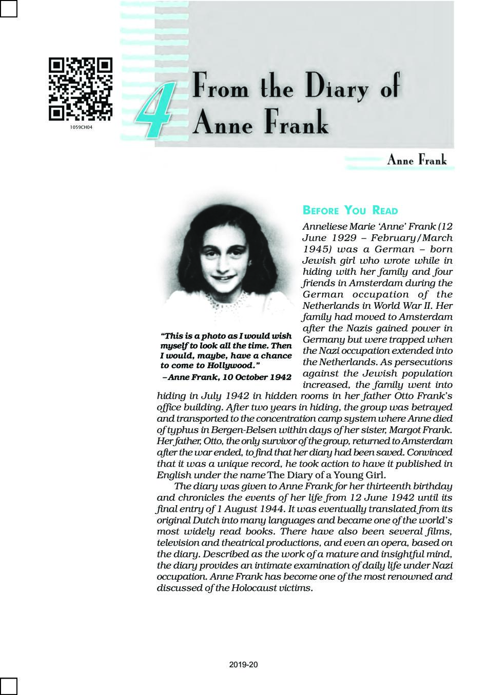 NCERT Book Class 10 English First Flight Chapter 4 From the Diary of Anne Frank