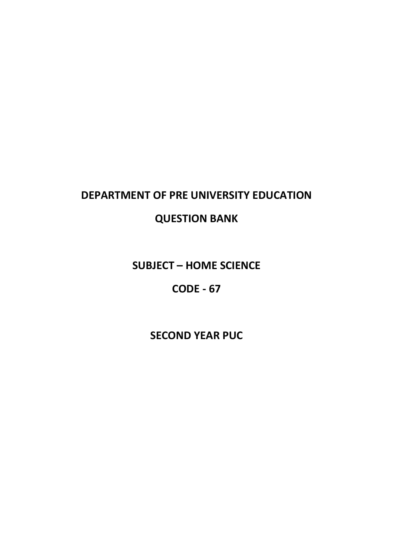 Karnataka 2nd PUC Question Bank for Home Science