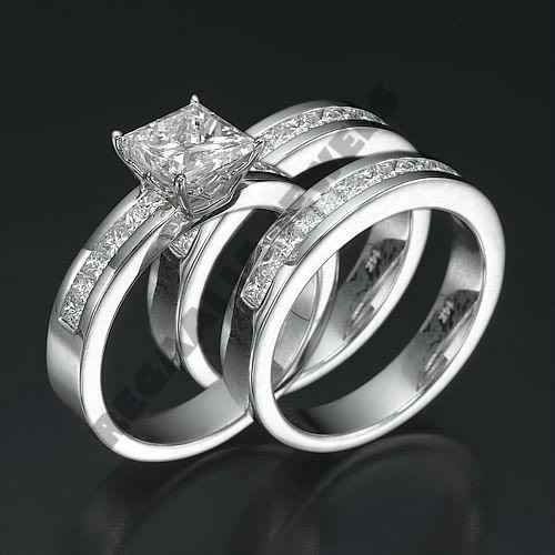 14K White gold 3CT Diamond Engagement Ring Wedding Trio Set For His & Her