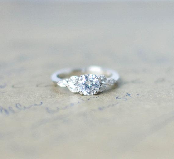 2ct Signity Diamond Designer Engagement Ring In 14k White Gold Fn