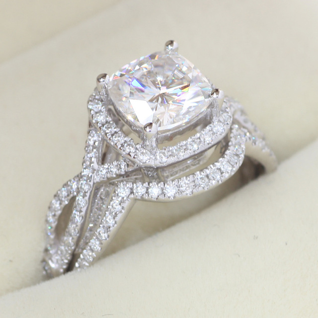 2carat round cut diamond infinity solitaire ring engagement 14ct white gold over