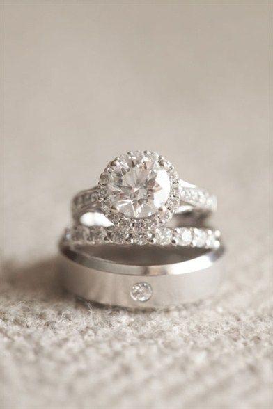 14K-White-Gold-Over-Trio-His-Her-Men-Women-Diamond-Rings-Set-Wedding-Bridal-Band