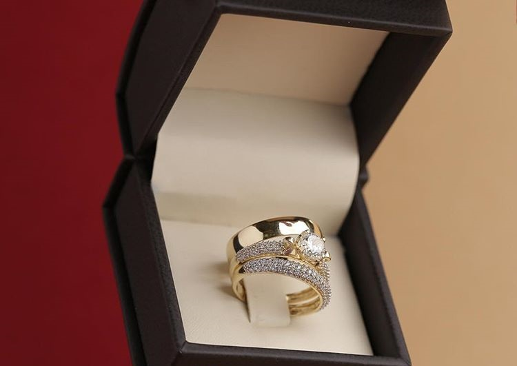14K-Gold-Over-Diamond-Bridal-Engagement-Ring-His-And-Her-Trio-Wedding-Band-Set