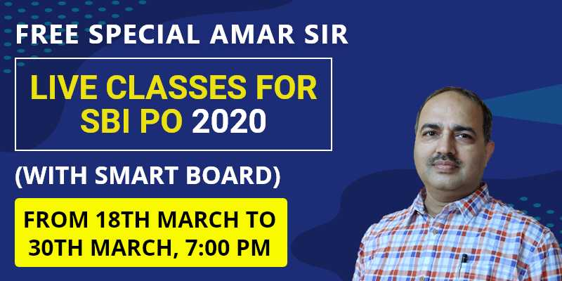 Free Special Amar Sir Live Classes for SBI PO 2020 (With Smart Board)