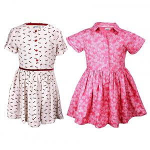 Shoppertree Pink Printed Dress And Shoppertree White Printed Dress