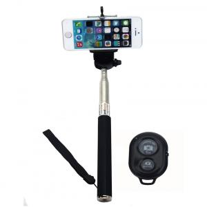 Casejunction Selfie Stick With Bluetooth Shutter Remote For All Smartphones - Black