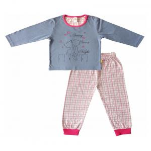 Girls Cuff Pyjama Set - 3y - Grey & Pink - By Tiny Bee