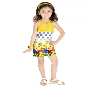 Hunny Bunny Yellow Blended Sleeveless Party Wear Dress