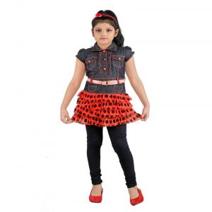 Dolphin Orange Color Party Wear Frocks With Black Legging For Kids