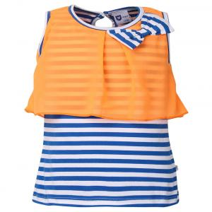 612 League Orange And Blue Cotton Sleeveless Regular Tops