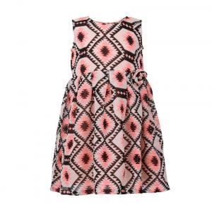 Printed Tribal Neon Printed Dress In Pink And Black