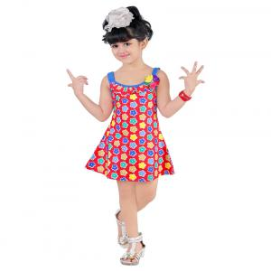 Radcart Red & Blue Frock For Girls