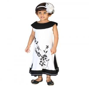 Lil Orchids Black Cotton Floral Printed Girls Side Cut Casual Dress