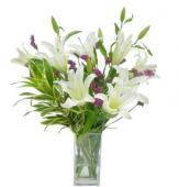 20 Whie Lilies in Glass Vase