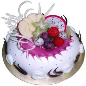1 Kg Creamy Fruits & Jelly Cake