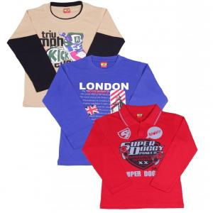 Provalley Pack of 3 Full Sleeve Multi Colors T-Shirt For Kids