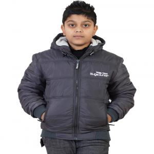 Little Bugs Gray Synthetic Padded Jacket With Hood