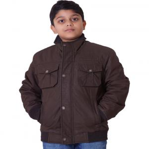 Little Bugs Brown Cotton Padded Jacket Without Hood