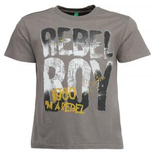 United Colors Of Benetton Gray Printed Round Neck T-shirt