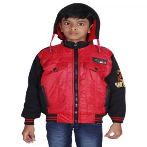 Winter Fuel Red And Black Nylon Full Sleeves Jacket With Hood