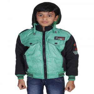 Winter Fuel Turquoise And Black Nylon Full Sleeves Jacket With Hood