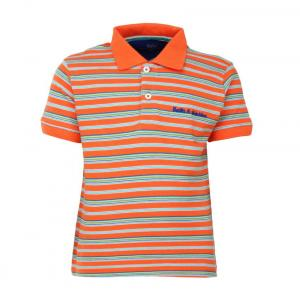 Bells And Whistles Orange Striped Pique Polo