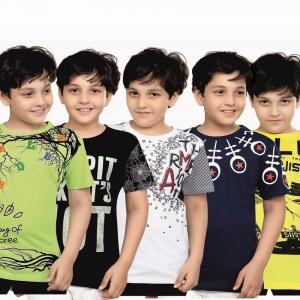 Jack43 Multicolor Cotton T-shirt For Boys - Combo Of 5