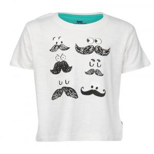 Bells And Whistles Printed Tee With Moustaches In Slub Jersey