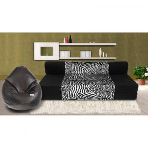 Dolphin Zeal 3 Seater Sofa Bed-black & Zebra- Xxl Black Bean Bag Cover Free