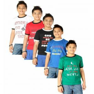 Goodway Pack Of 5 Senior Boys Mom & Dad Printed T-shirts