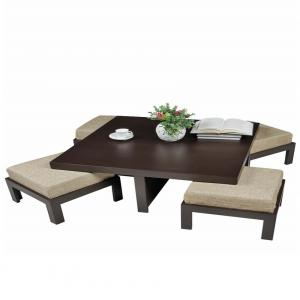 Arra Trendy Coffee Table With Four Stools - Jute
