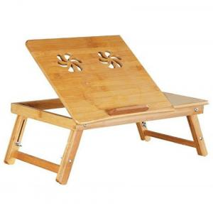 Classic Solid Wood Adjustable Laptop Table In Brown