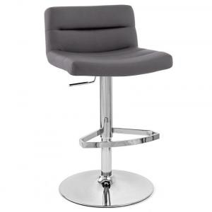 Solid Wood Bar Stool In Gray