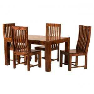 Solid Wood 4 Seater Dinning Set In Brown