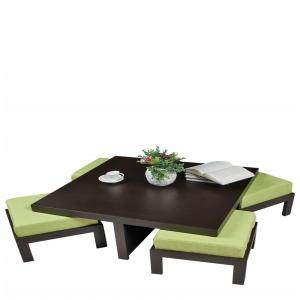 Arra Trendy Coffee Table With Four Stools - Green