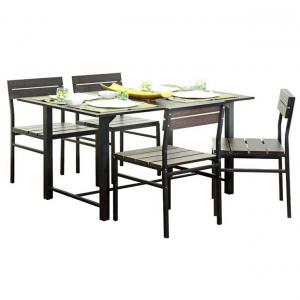 Brown Dining Set With Wooden Top Table - 5 Pcs
