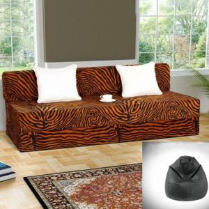 Dolphin Double Zeal Sofa-Golden Zebra-With Free Xxl Black Bean Bag Free Combo