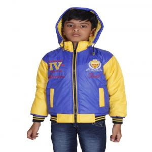 Winter Fuel Blue And Yellow Nylon Full Sleeves Jacket With Hood