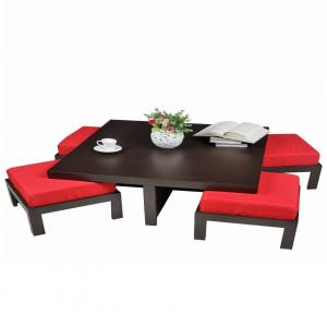Arra Trendy Coffee Table With Four Stools - Red