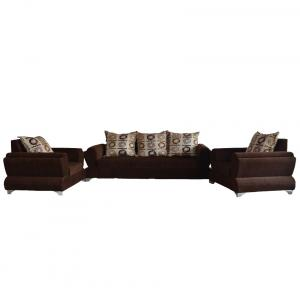 Westido Brown 3+1+1 Sofa With 5 Cushions