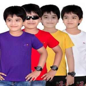 Dongli Pack of 4 Rich Look Boys Multi Colors Half Sleeves T-Shirts