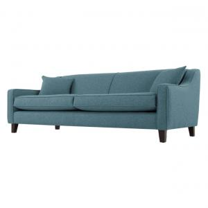 Solid Wood 3 Seater Sofa In Teal Weave