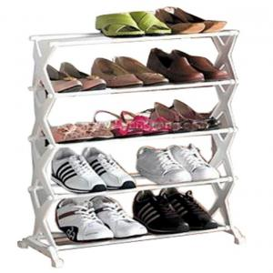 Ezzi Deals Foldable Stainless Steel 5 Tier Shoe Rack - Holds 16 Pair Of Shoes