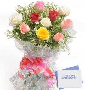 10 Mix Color Roses with Card