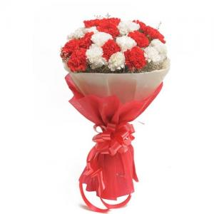 Bouquet of 20 Red & White Carnation