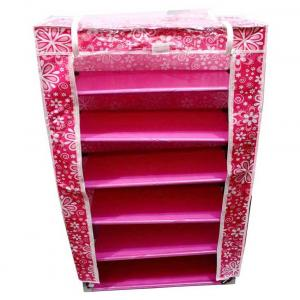 Fab Ferns Pink & White Stainless Steel Shoe Rack And Wardrobe