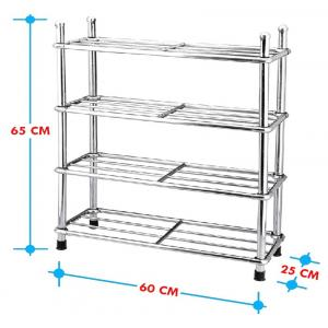 E Traders Sr-t3 Silver Stainless Steel Shoe Rack