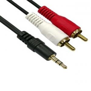 Gold Plated 2RCA Male to 3.5 mm Stereo Cable 1.5 meter Laptop Audio