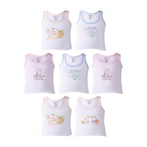 Bodycare White Cotton Printed Vests (pack Of 7)