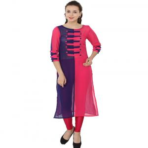 Ethnic Route Pink Navy Style Georgette Round Neck Kurti